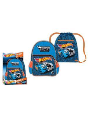Рюкзак, мешок/обуви Hot Wheels в дисплее. Mattel. Цвет: синий, оранжевый