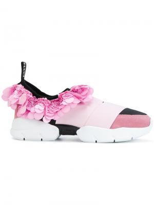 Кроссовки с оборкой пайетками Emilio Pucci. Цвет: розовый и фиолетовый