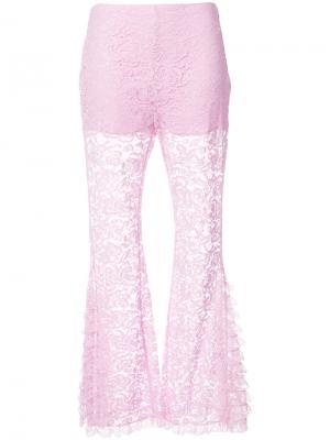 Расклешенные кружевные брюки Givenchy. Цвет: розовый и фиолетовый