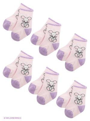 Носки, 6 пар Arina. Цвет: бледно-розовый, сиреневый