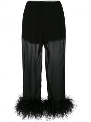 Укороченные брюки с отделкой перьями Prada. Цвет: чёрный