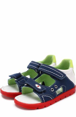 Комбинированные сандалии с застежками велькро и прострочкой Falcotto. Цвет: голубой