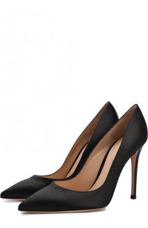 Атласные туфли Gianvito 105 на шпильке Rossi. Цвет: черный