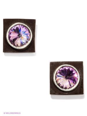 Серьги Jenavi. Цвет: серебристый, фиолетовый, коричневый