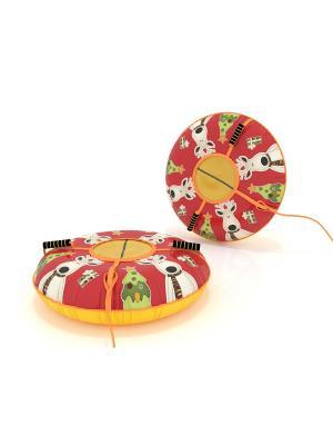 Санки-ватрушка (тюбинг) 100 см Олень SPORTREST. Цвет: зеленый, бежевый, красный