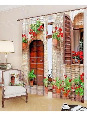 Комплект фотоштор Итальянский дворик ТОМДОМ. Цвет: бежевый, красный, бордовый, коричневый