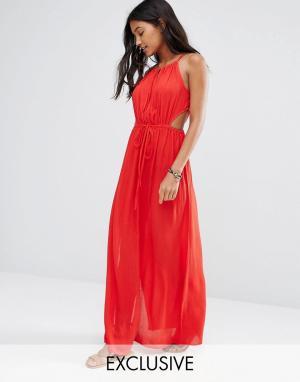 Akasa Красное пляжное платье макси с вырезом капелькой. Цвет: красный