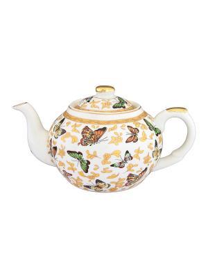 Чайник с металлическим ситом Бабочки Elan Gallery. Цвет: белый, зеленый, золотистый, желтый