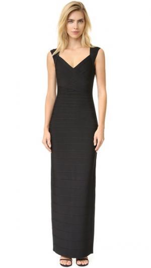 Макси-платье без рукавов Herve Leger. Цвет: голубой