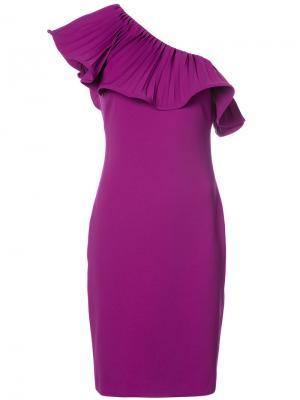 Платье с плиссировкой на одно плечо Badgley Mischka. Цвет: розовый и фиолетовый