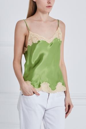 Шелковый топ Meryline Sabbia Rosa. Цвет: зеленый
