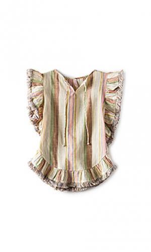 Свободное длинное платье с бахромой tropicale Zimmermann. Цвет: беж
