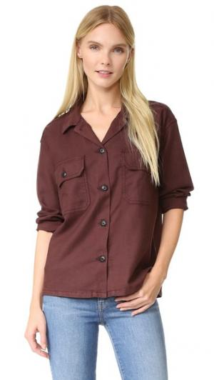 Рубашка-жакет в стиле милитари THE GREAT.. Цвет: вино