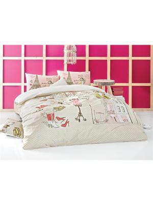 Комплект постельного белья FASHION WEEK КПБ Многоцветный, ранфорс, 145ТС, 100% хлопок, 1,5х ISSIMO Home. Цвет: розовый