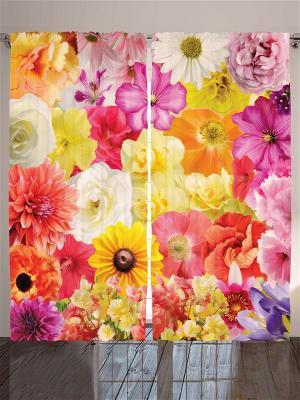 Комплект фотоштор Бордовые и оранжевые розы, алые георгины, разноцветные космеи маки, 290*265 см Magic Lady. Цвет: бежевый, оранжевый, желтый, белый, черный, сиреневый, светло-серый, фиолетовый