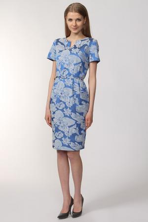 Платье с ремнем NOVEMBER. Цвет: белый, голубой