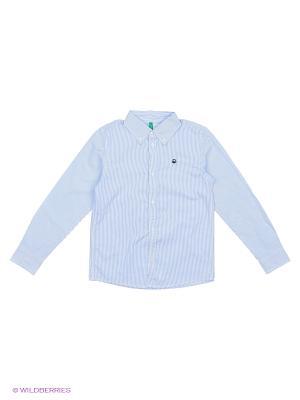 Рубашка United Colors of Benetton. Цвет: светло-голубой, белый