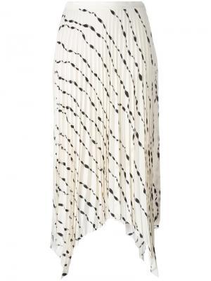 Плиссированная юбка с узором Helmut Lang. Цвет: белый
