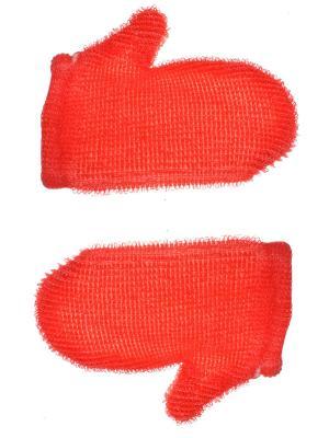 Мочалка - рукавица для тела, красная, набор из 2 шт. Радужки. Цвет: красный
