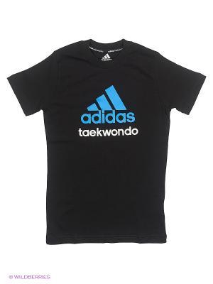 Футболка детская Community T-Shirt Taekwondo Kids Adidas. Цвет: черный, синий