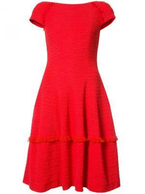 Платье с бахромой Talbot Runhof. Цвет: красный