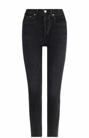Укороченные джинсы-скинни с потертостями Re/Done. Цвет: черный