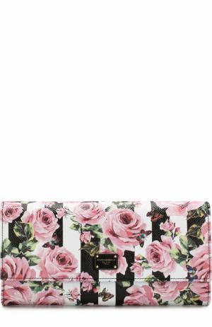 Кожаный кошелек с принтом и логотипом бренда Dolce & Gabbana. Цвет: разноцветный