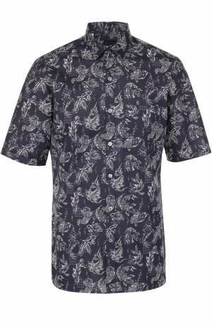 Хлопковая рубашка с короткими рукавами Lanvin. Цвет: темно-синий