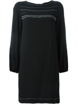 Платье с контрастной окантовкой Odeeh. Цвет: чёрный