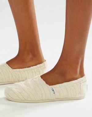 Toms Вязаные туфли на плоской подошве и с меховой подкладкой. Цвет: белый