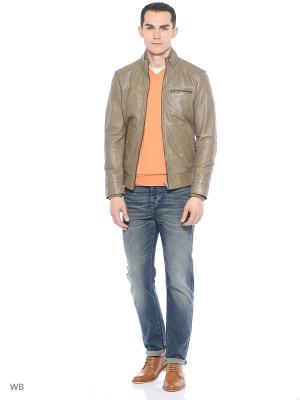 Кожаная куртка United Colors of Benetton. Цвет: серый