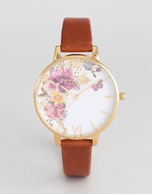 Olivia Burton Часы со светло-коричневым кожаным ремешком OB16EG94 Ench. Цвет: рыжий