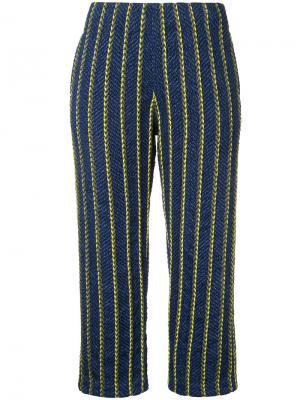 Укороченные брюки в полоску COOHEM. Цвет: синий