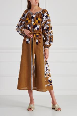 Льняное платье Magic Mix Vita Kin. Цвет: коричневый