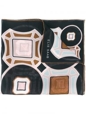 Шарф с абстрактным принтом Elie Saab. Цвет: чёрный