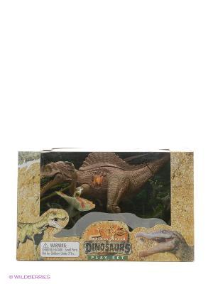 Набор фигурок Динозавры Happy Kin. Цвет: темно-коричневый, бронзовый, серый меланж
