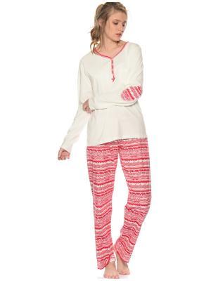 Пижама женская Kom. Цвет: молочный, красный