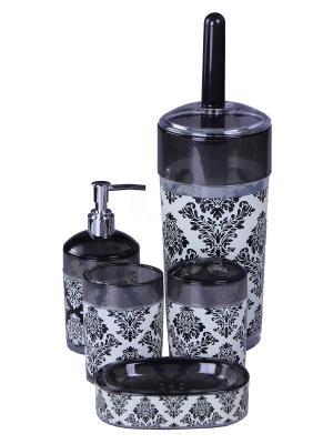 Набор для ванны 5 предметов: дозатор, подставка под зубные щетки, стакан, мыльница, ершик унитаз PATRICIA. Цвет: черный