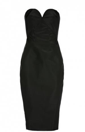 Шелковое платье-бюстье Zac Posen. Цвет: черный