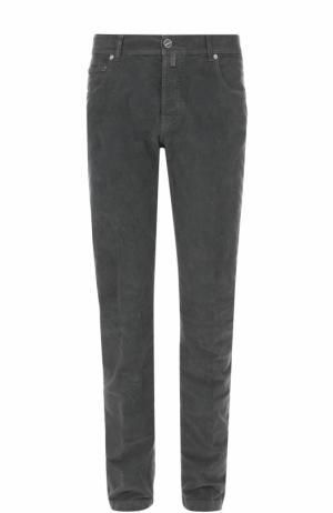 Хлопковые брюки прямого кроя Kiton. Цвет: темно-серый