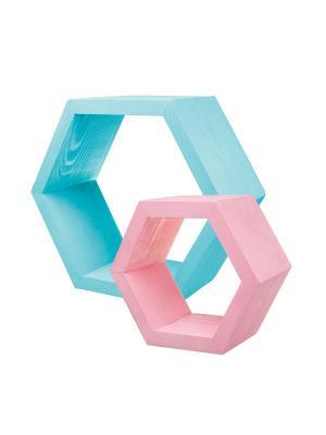 Набор из 6 декоративных полок Ecowoo. Цвет: голубой, розовый