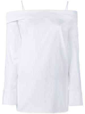 Блузка с открытыми плечами и нагрудным карманом Robert Rodriguez. Цвет: белый