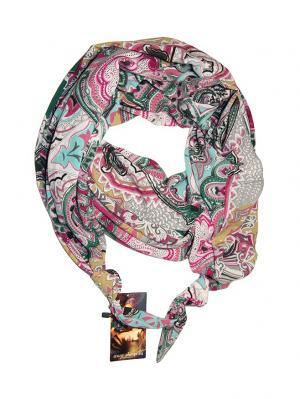 Двойной шелковистый шарф-долька с узелками; серия Апрель Оланж Ассорти. Цвет: бирюзовый, белый, розовый