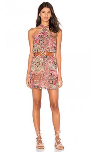 Платье холтер WAYF. Цвет: коралл