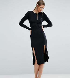 ASOS Tall Облегающее платье миди с длинными рукавами и разрезами. Цвет: черный