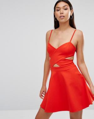 WYLDR Приталенное платье с вырезами In Love. Цвет: оранжевый