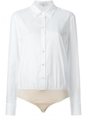 Боди-рубашка Tibi. Цвет: белый