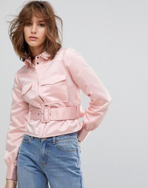 Lost Ink Атласная рубашка в стиле вестерн с поясом. Цвет: розовый