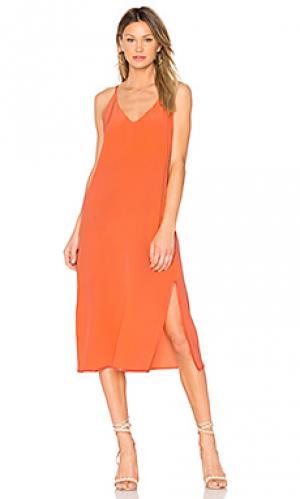 Макси платье с v-образным вырезом maelle CHARLI. Цвет: оранжевый