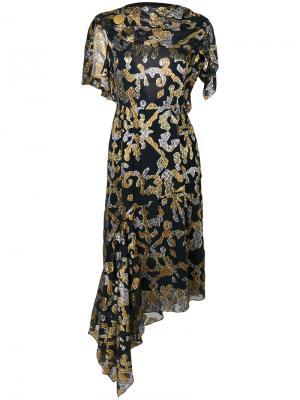 Платье с накидкой и узором Peter Pilotto. Цвет: чёрный